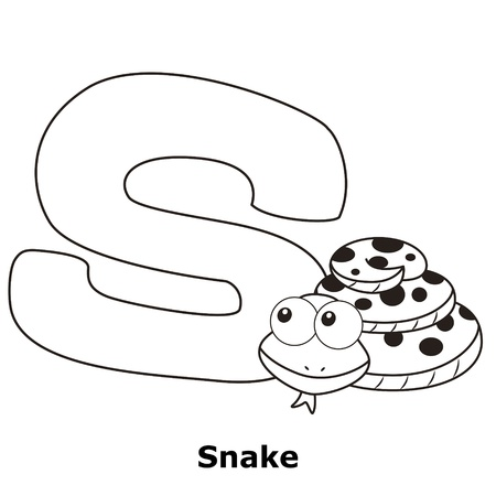 Coloring Alphabet for Kids, S with snake. Vector