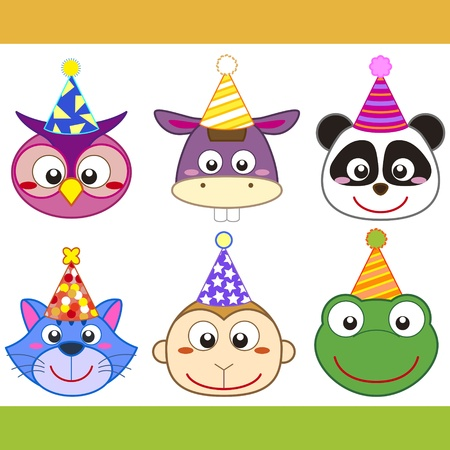 birthday religious: cartoon party animal icons collection.