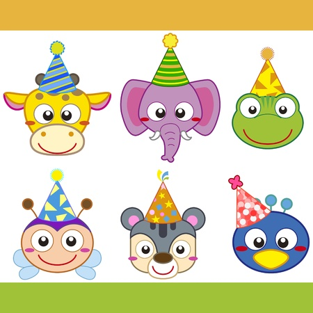 bee birthday party: cartoon party animal icons collection.