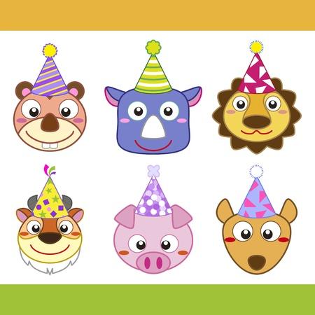 nutria caricatura: Colecci�n de iconos de animales de dibujos animados partido. Vectores