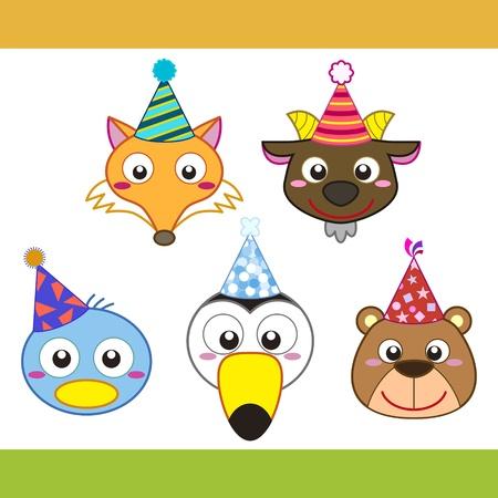 pato caricatura: Colecci�n de iconos de animales de dibujos animados partido. Vectores