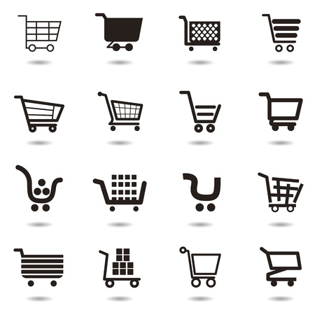 add to cart: set collection of shopping cart icons. Illustration