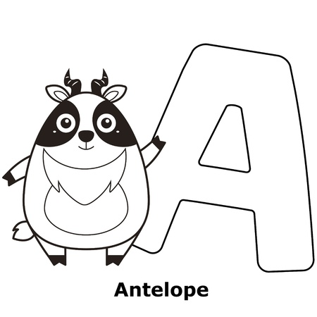 Coloring Alphabet for Kids, A with antelope. Vector