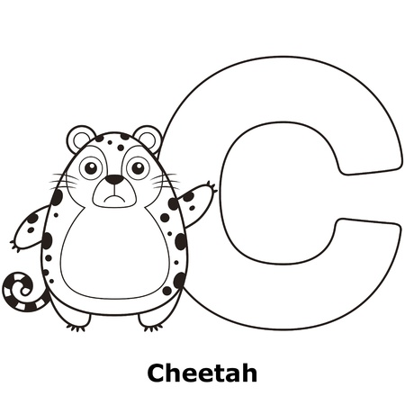 Coloring Alphabet for Kids, C with cheetah. Vector