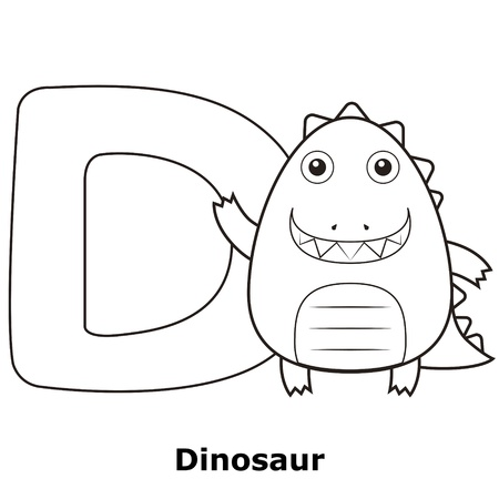 Coloring Alphabet for Kids, D with dinosaur. Vector