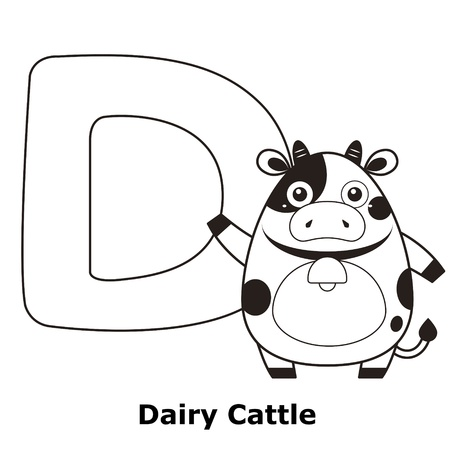 dairy cattle: Coloring Alphabet for Kids, D with dairy cattle.