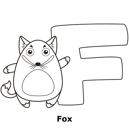 Coloring Alphabet for Kids, F with fox.