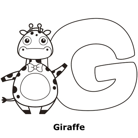 g giraffe: Coloring Alphabet for Kids, G with giraffe.