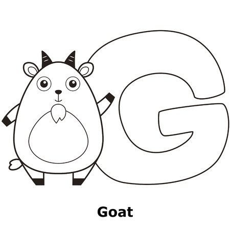 Coloring Alphabet for Kids, G with goat. Vector