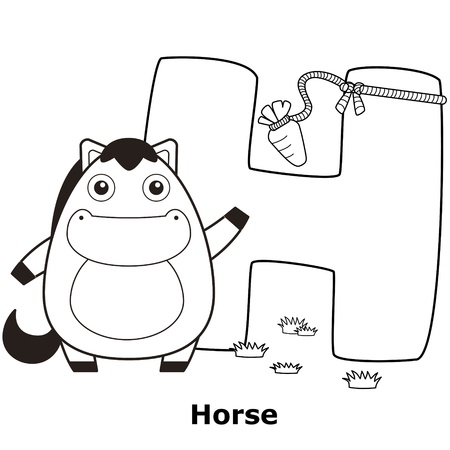 spelling: Coloring Alphabet for Kids, H with horse.