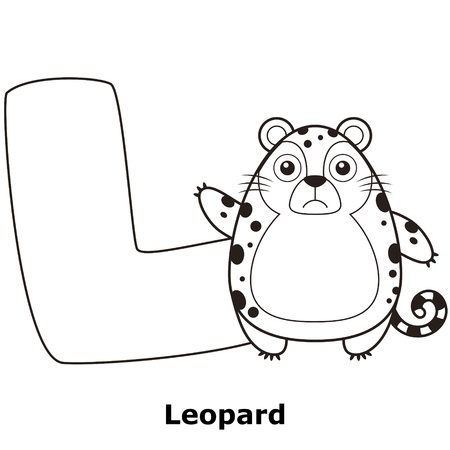 Coloring Alphabet for Kids, L with leopard. Vector