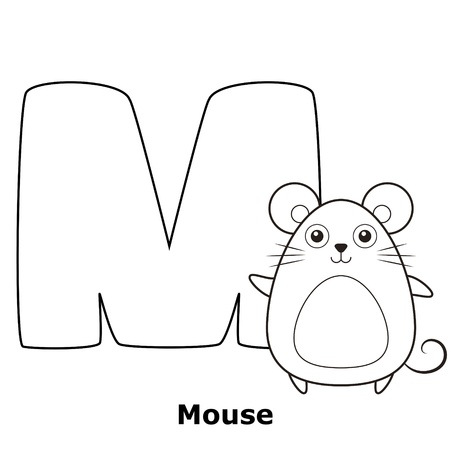 the infancy: Coloring Alphabet for Kids, M with mouse.