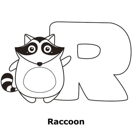 spelling: Coloring Alphabet for Kids, R with raccoon.