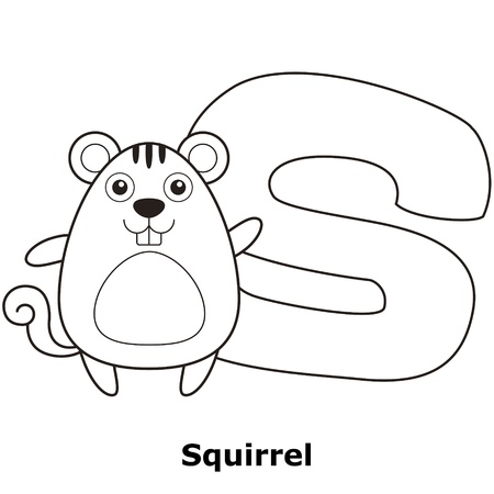 Coloring Alphabet for Kids, S with squirrel. Vector