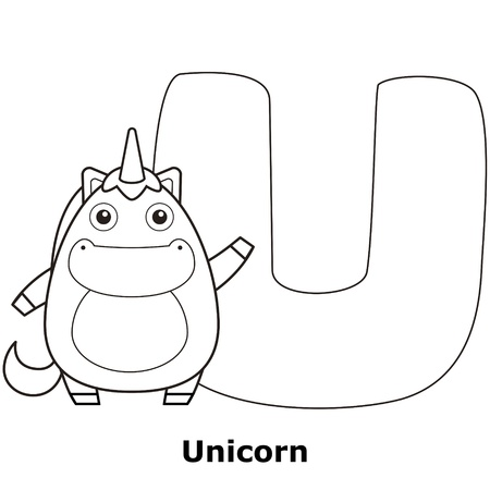 Coloring Alphabet for Kids, U with unicorn. Vector