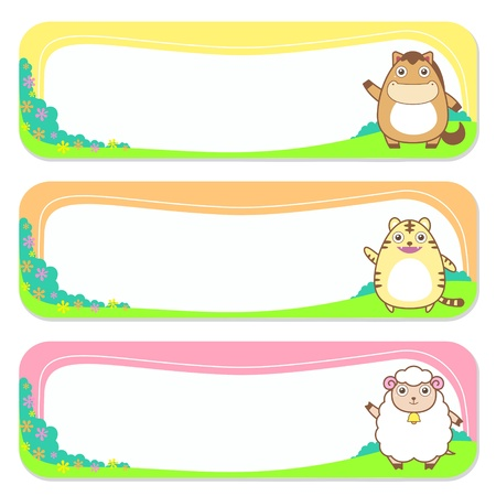three cute animals set of banner elements Vector