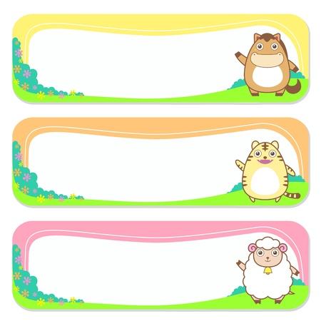 animals frame: three cute animals set of banner elements