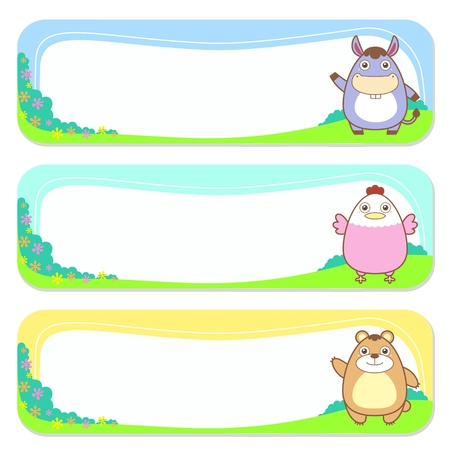 animal frame: three cute animals set of banner elements