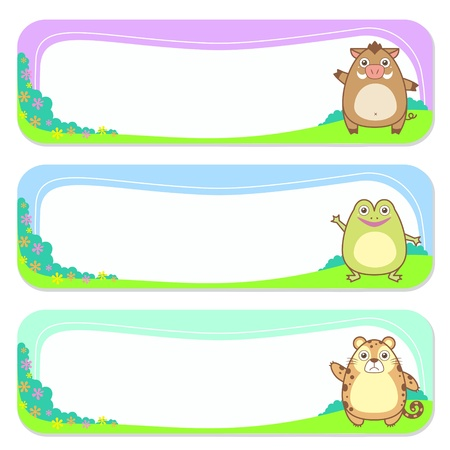 animals collection: three cute animals set of banner elements