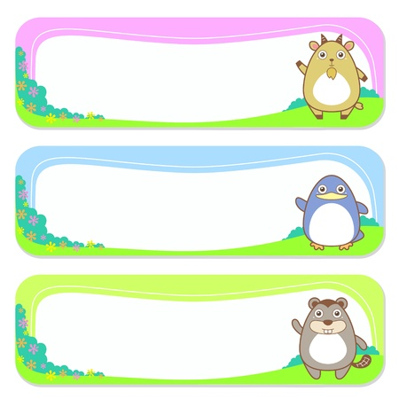 kid goat: three cute animals set of banner elements