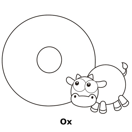 ox: Coloring Alphabet for Kids, O with ox.