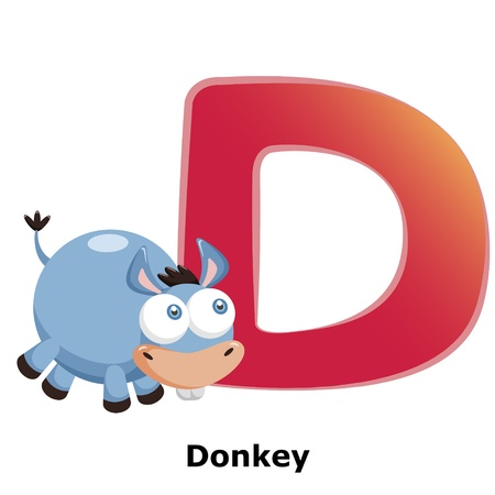 illustration of isolated animal alphabet D with donkey on white Stock Vector - 20457787