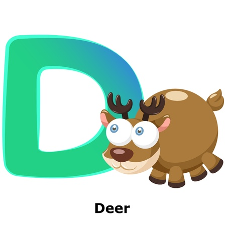 illustration of isolated animal alphabet D with deer on white Stock Vector - 20457802