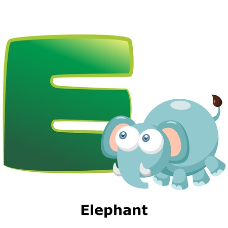 alphabet wallpaper: illustration of isolated animal alphabet E with elephant on white