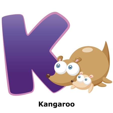 alphabet wallpaper: illustration of isolated animal alphabet K with kangaroo on white Illustration