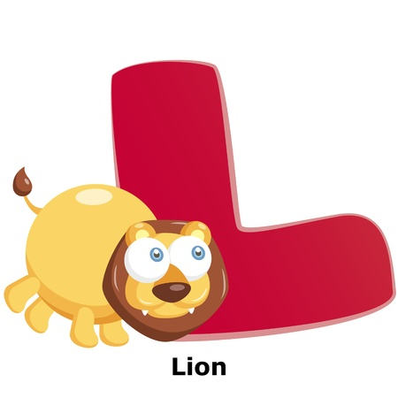 illustration of isolated animal alphabet L with lion on white Stock Vector - 20457791
