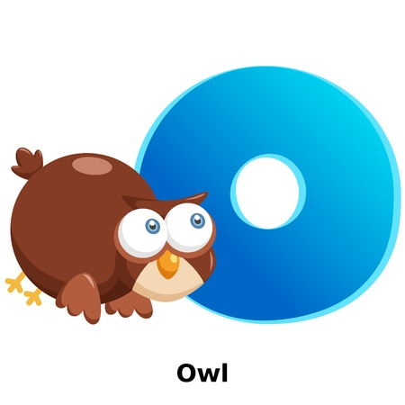 illustration of isolated animal alphabet O with owl on white Vector