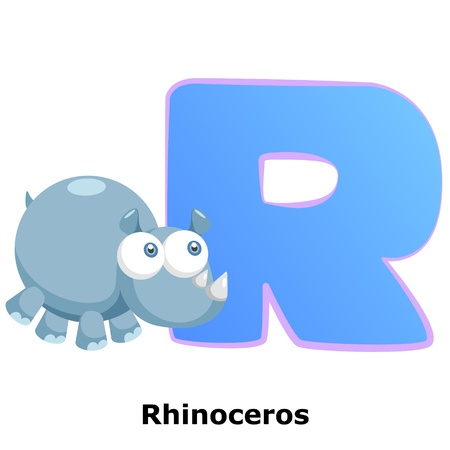 illustration of isolated animal alphabet R with rhinoceros on white Stock Vector - 20457797