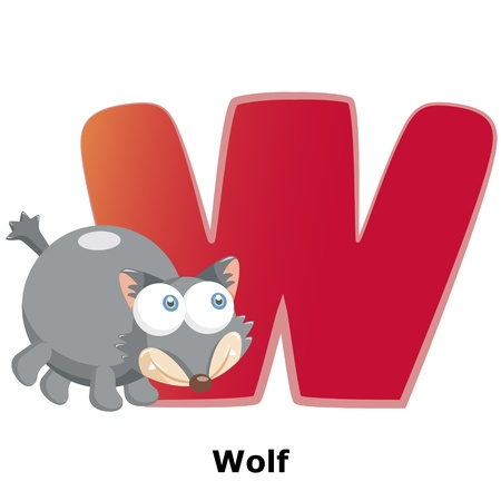 illustration of isolated animal alphabet W with wolf on white Vector