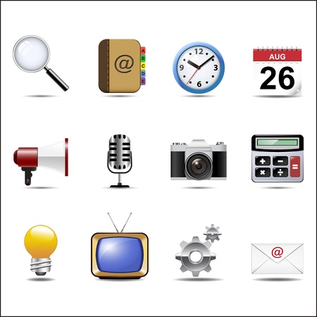 Communication channels and Social Media icon set. Vector
