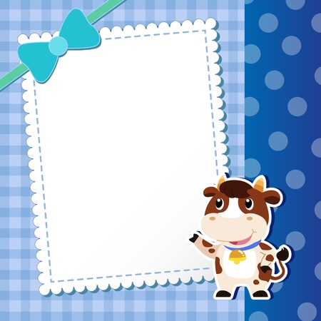 dairy cattle: dairy cattle. baby card.  illustration Illustration