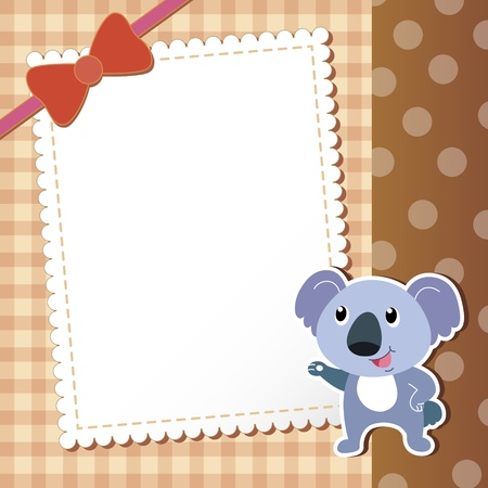 paper note: koala  baby card illustration