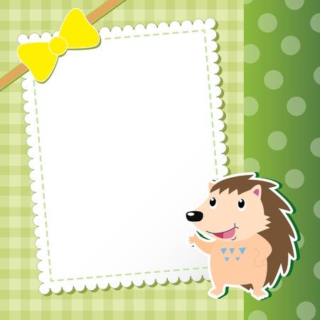 animal frame: hedgehog  baby card  illustration Illustration