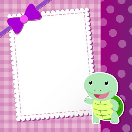 tortoise  baby card  illustration