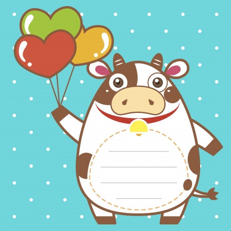 funny ox: cute dairy cattle of scrapbook background. Illustration