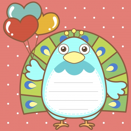 cute peacock of scrapbook background. Illustration