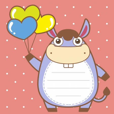 cute donkey of scrapbook background. Vector