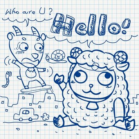 hello heart: set of notebook paper doodles.