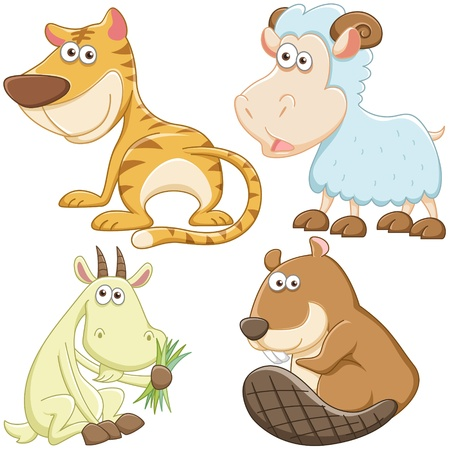 baby goat: cute cartoon animal set