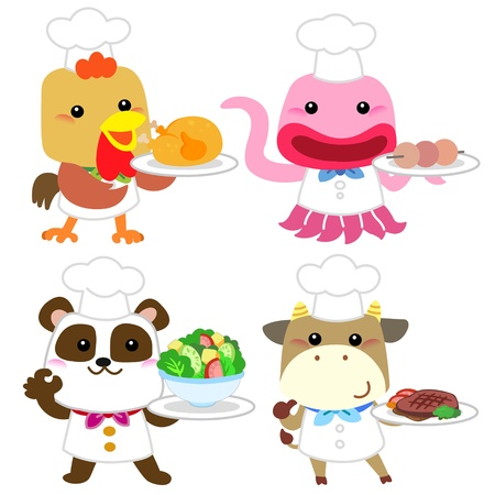 funny ox: cute cartoon animal cook collection with white background  Illustration