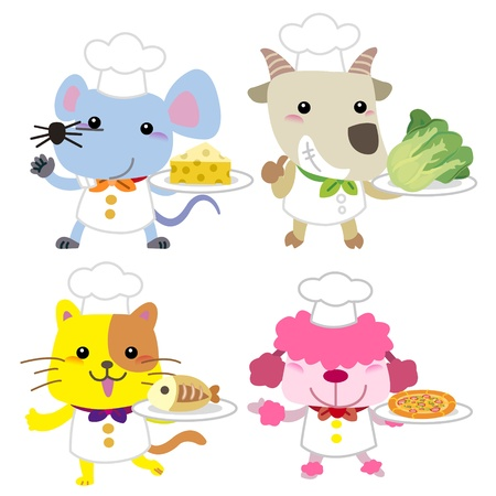 goat cheese: cute cartoon animal cook collection with white background  Illustration