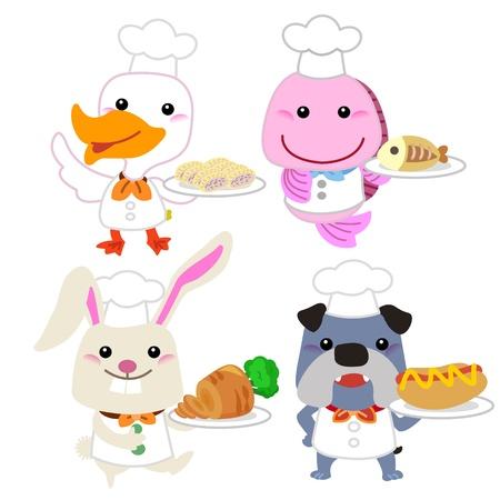 zanahoria de caricatura: cocinero colecci�n animal de la historieta linda con el fondo blanco