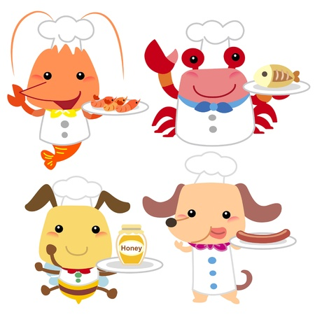 cangrejo caricatura: cocinero colecci�n animal de la historieta linda con el fondo blanco