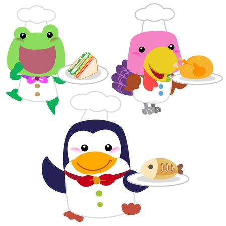 cute cartoon animal cook collection with white background  Vector