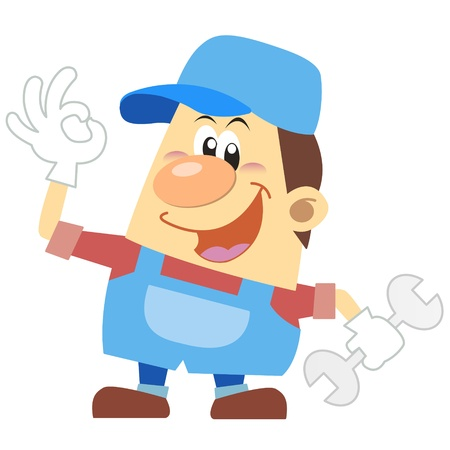 labourer: cartoon plumber with white background  Illustration