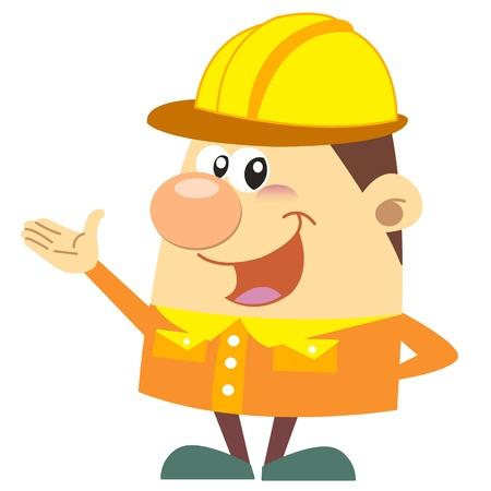 arquitecto caricatura: trabajador de la construcción de dibujos animados con el fondo blanco